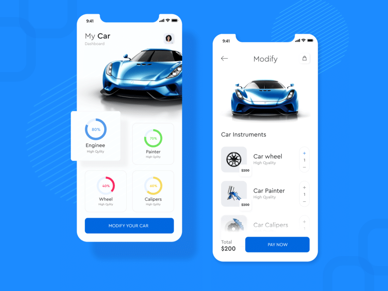 Car Modify App Design Concept